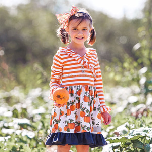 Flower children baby girl pumpkin dresses fancy frock design in summer girls party dresses for 8 years old girls