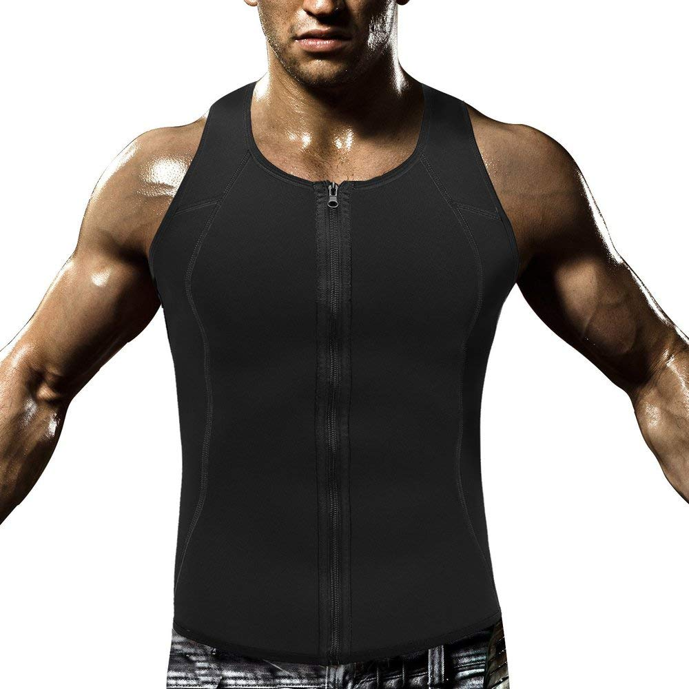 Men Waist Trainer Vest for Weight Loss Hot Neoprene Body Shaper Zipper Sauna Tank Top Workout Sweat Vest