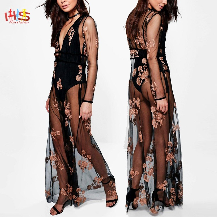 Boutique Embroidered Panel Maxi Dress Summer Fashion Embroidered Beach Cover Up Dress HSD7795