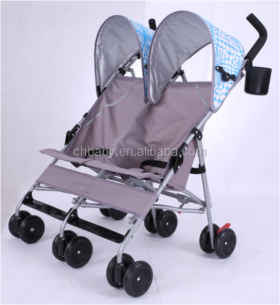 Compact twins umbrella baby stroller with rear mesh net bag