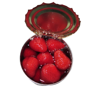 Fresh canned strawberry in syrup different types of canned furit