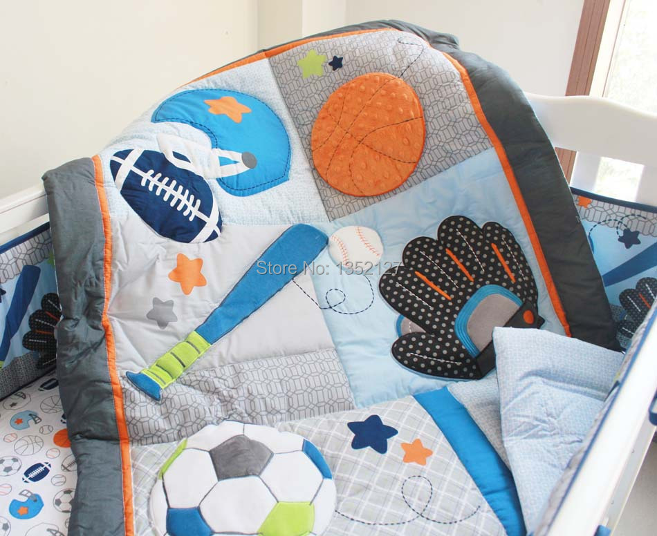 Applique Embroidered Sports Blue Crib Quilt Boy Baby