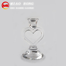 High quality heart shape tall glass candle holder for christmas