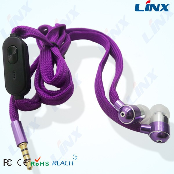 3.5mm sports mp3 stereo waterproof earphones with shoelace