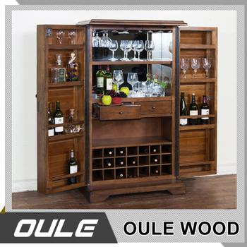Modern Wood Wine Bar Storage Cabinet Decorative Corners Furniture