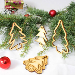 Simple Tree Shaped Wood Ornament Hanging on Christmas Tree or Garland