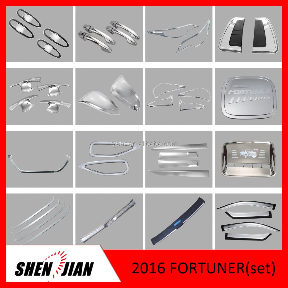 Toyota Fortuner 2016 full chromed kits 25 pcs/set toyota fortuner suv accessory cars exterior accessories,Car Accessories