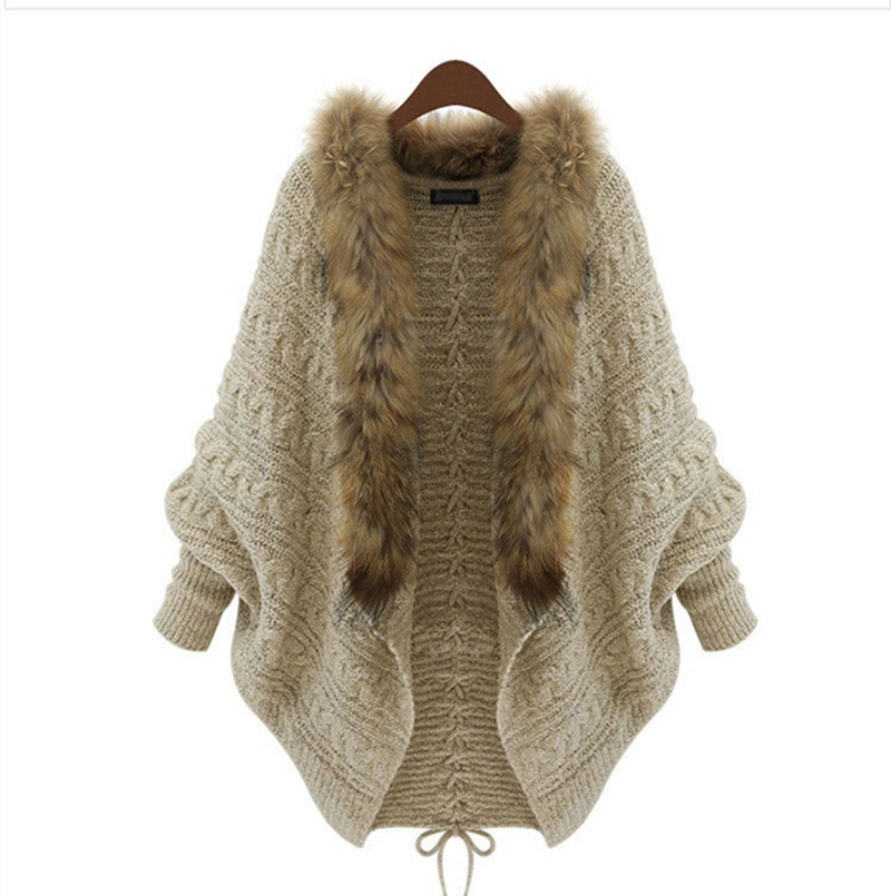Fashion Women Loose Fur Collar Cardigan Sweater 2015 Autumn font b Winter b font Ladies New
