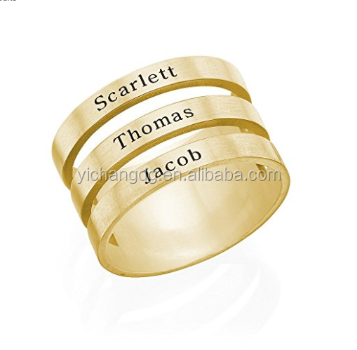 Engravable Name Ring in Gold Plated Stainless Steel- Personalized Gift for Mothers Children Jewelry