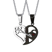 Romantic Couples Heart Key Crystal Pendant Her & His Love Necklace Set Lover Valentine Stainless Steel Chain