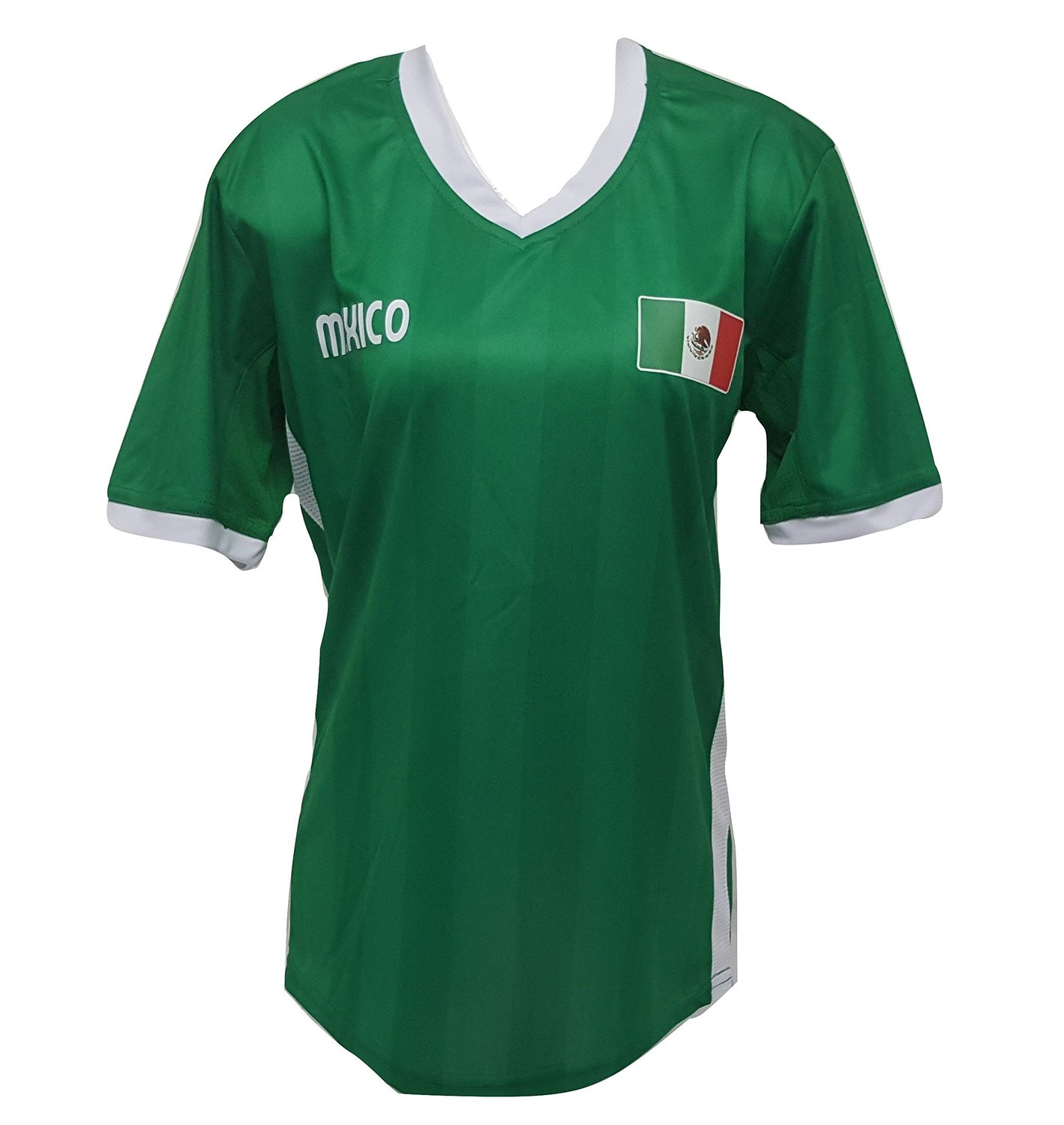Arza Sports Womens Plus Size Mexico Soccer Green Jersey V-Neck T Shirt S,M,L,XL,XXL