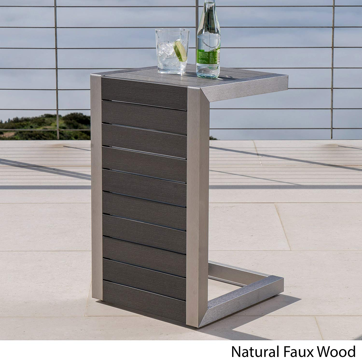 Contemporary Modern Cape Coral C-Shaped End Table Aluminum Wood Wicker (Natural Faux Wood C - Shaped Table)