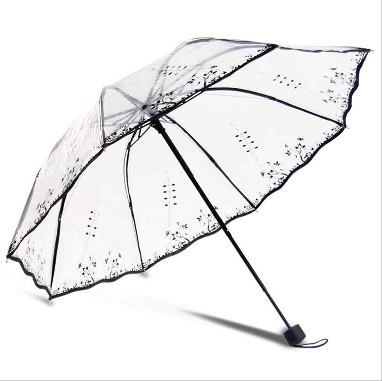 b62f912dfa9c6 Get Quotations · Transparent Umbrella Rain Sunny And Rainy Umbrella Parasol  Thicken Three-Folding Advertising Women