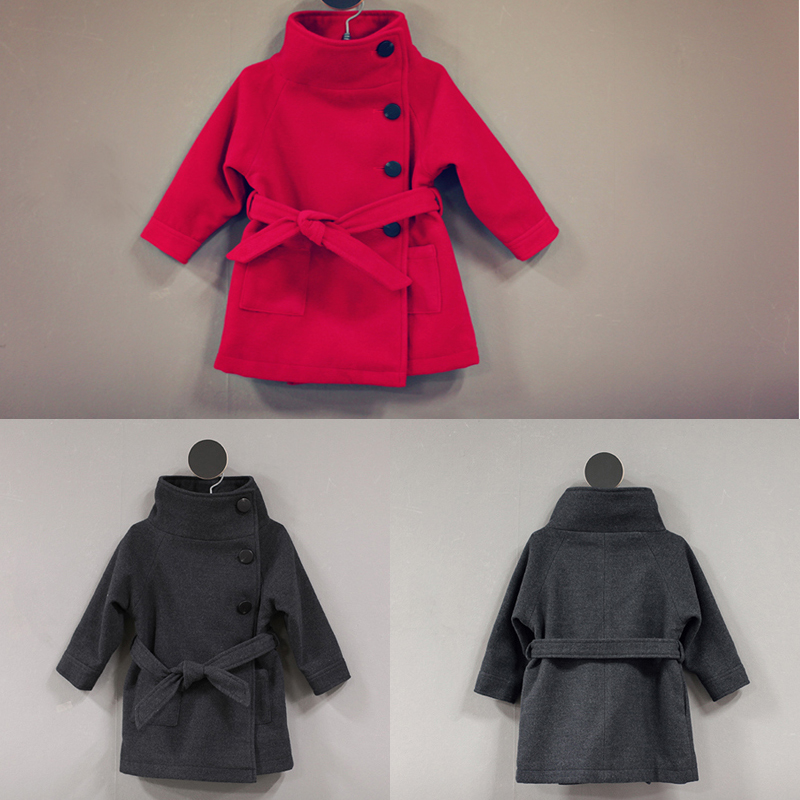Christmas cheap china wholesale kids clothing long sleeve keep warm dust coat woolen girls winter coats 2015 XZ3002