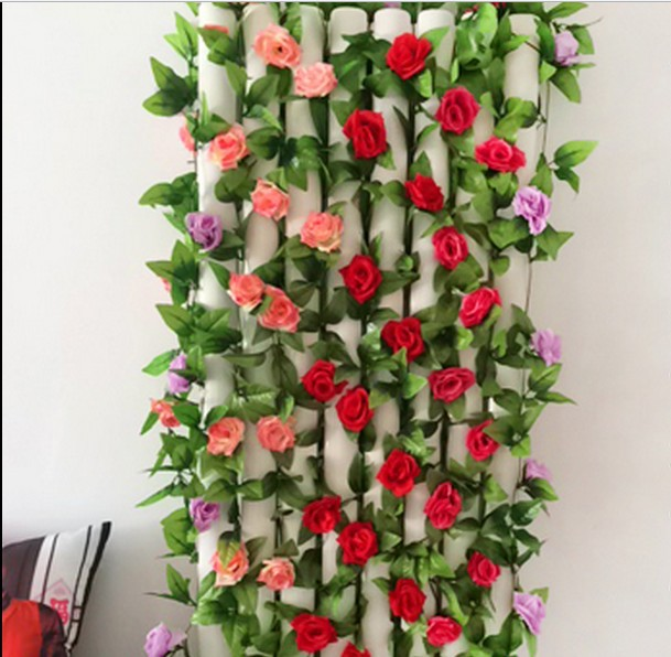 Rose Wall Rattan Cane Artificial Flowers Decorate The