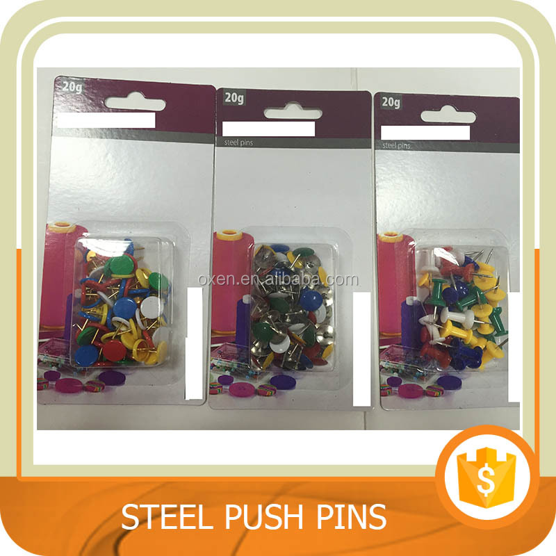 Cheap home and office desk accessories, thumb tacks, steel push pins. Trade assurance.