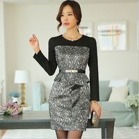 EY0041D 2015 New Fashion OL Women Ladies Office Dress Clothes Knee-length Slim Pencil Party Dress with the belt
