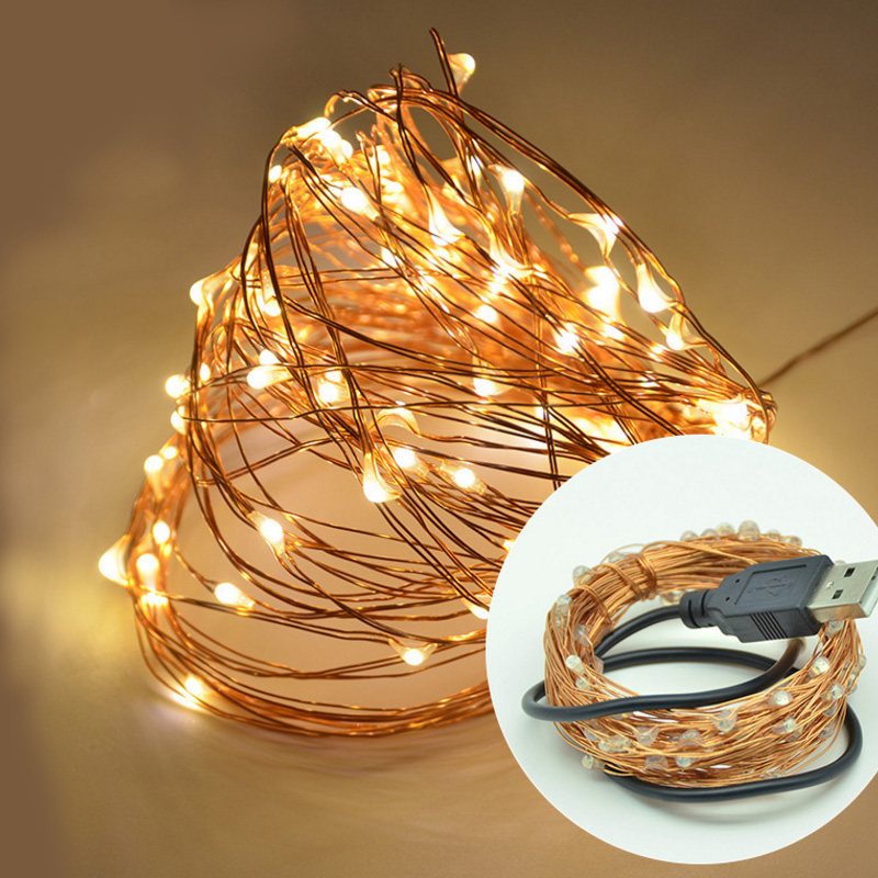 Custom Waterproof USB Copper Wire 10 M 100 LED String Lights For Christmas Party Wedding Decoration