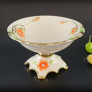 ceramic fruit bowl china suppliers home party decoration round gold rim porcelain bowl with foot