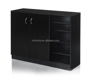 2017 new style black wooden melamine PB/MDF large shoe cabinet storage with shelves and 2 doors