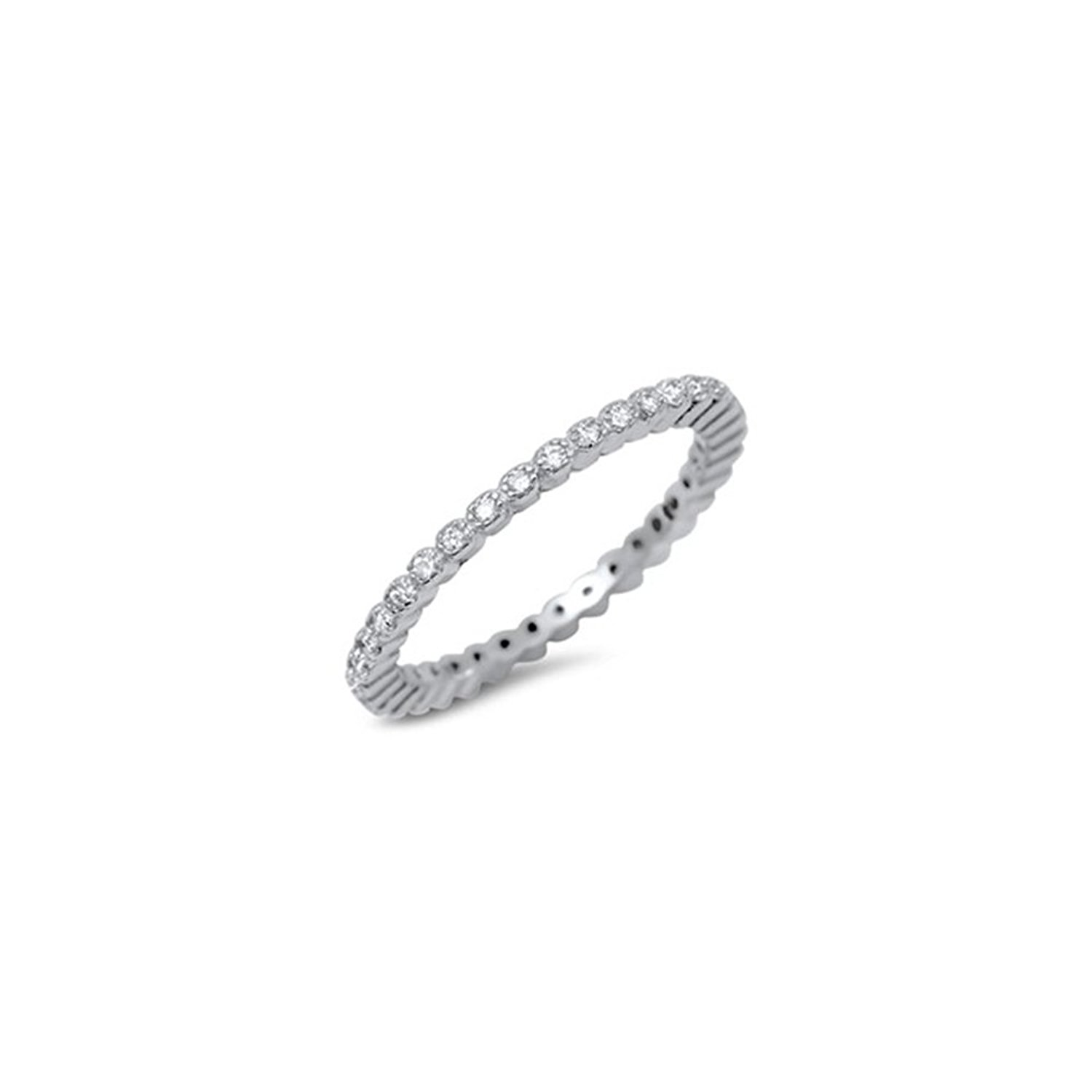 Noureda Sterling Silver Classy Stackable Band Ring Set with Round Cut Clear Czs, Band Width of 2MM