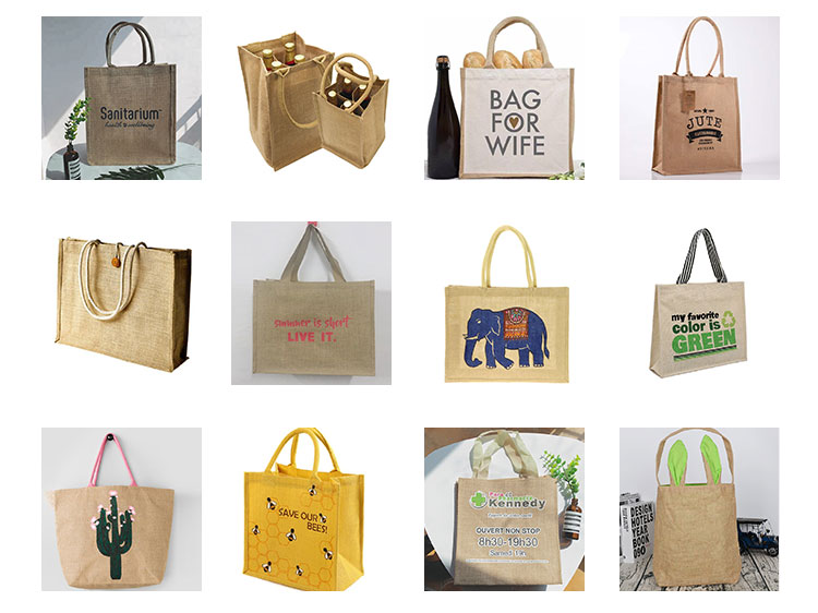 Promotional Customized Food Drinks Handle Carrying Printed Eco Shopping Jute Bag