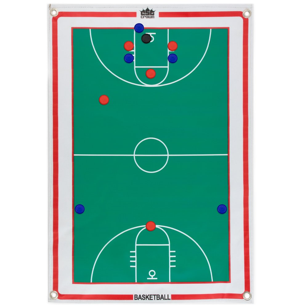 """Magnetic Basketball Coaches Strategy & Tactic Board - 23.75"""" x 16.75"""" Premium, Double Sided Roll-Up Play Calling Clipboard, Full & Half Court View Sides, & 12 Magnets"""