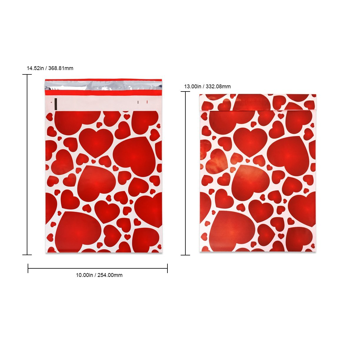 """Beauticom (300 Pieces) 10"""" X 13"""" Red Hearts Designer Poly Mailers Shipping Envelopes Boutique Custom Mailers Gift Envelopes"""