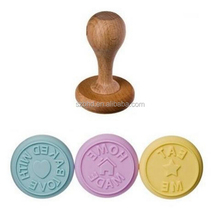 Round Custom Silicone Cookie Biscuit Stamp with Wooden Handle