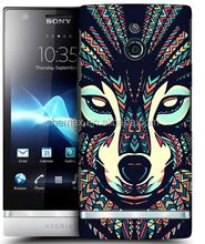Head Case Designs Wolf Faces Protective Snap-on Hard Back Case Cover for Sony Xperia P LT22i