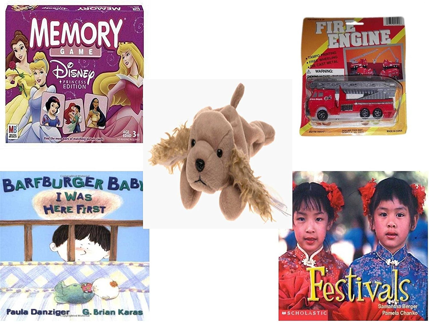 Children's Gift Bundle - Ages 3-5 [5 Piece] - Disney Princess Edition Memory Game - Fire Engine Die-cast Metal Toy - Ty Beanie Baby - Spunky the Cocker Spaniel Dog - Barfburger Baby, I Was Here Firs