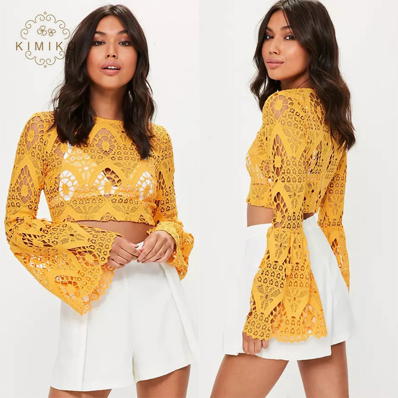 Top Selling Sexy Women Crop Tops Long Sleeves Cut Out Yellow Lace Tops