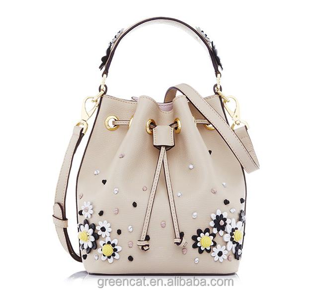 Designer Inspired Drawstring Bonia Bead Flower Bucket Las On Front Of Handbags Co Fl Bags I200021 Bag Flora With