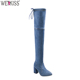 Factory Wholesale Low Price Denim Boot Shoes Block Heel Sexy Over Knee Boots OEM Shoes
