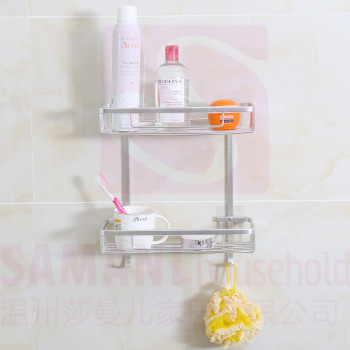 High Quality 2 Tier Bathroom Rack Corner Shampoo Wall Stick Shelf