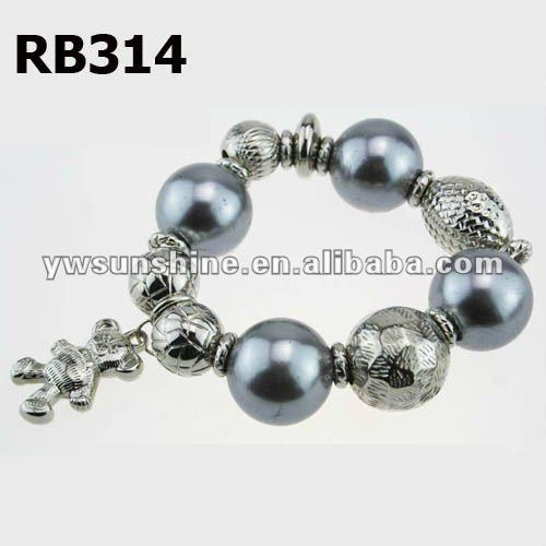 Silver bear pendant bracelet with big imitation pearl