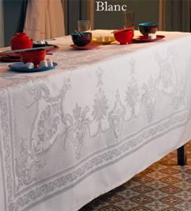Garnier-thiebaut, Beauregard Blanc (White), Set of 4 Cloth Napkins, 22 Inches X 22 Inches, 100 Percent Cotton