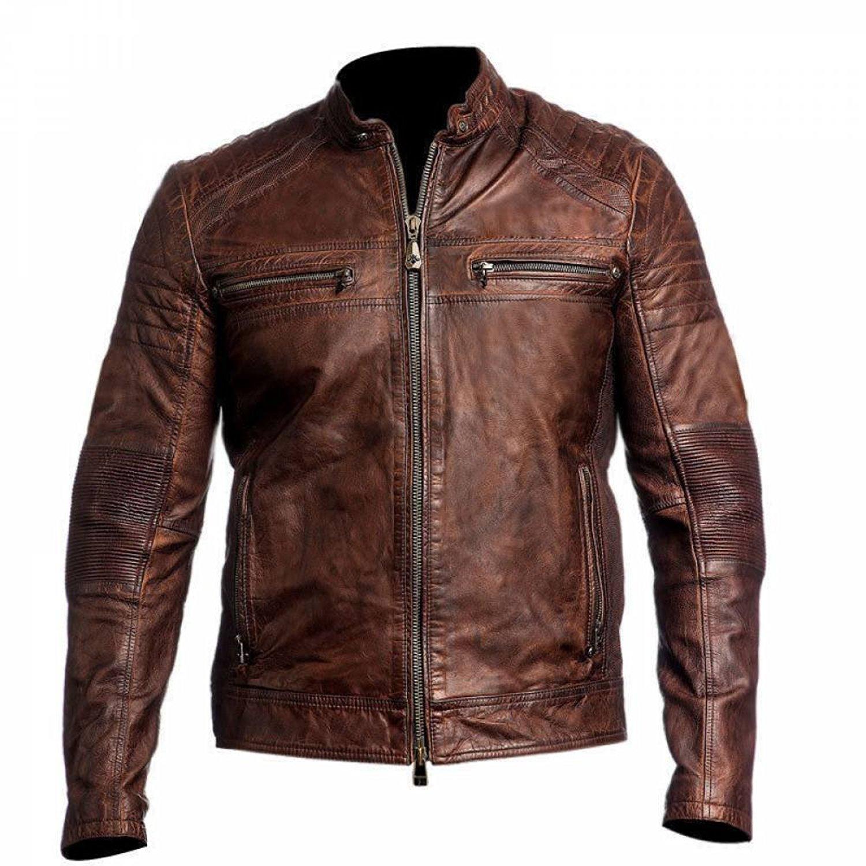 Cafe Racer Mens Biker Vintage Motorcycle Distressed Brown Leather Jacket   Mens Leather Jacket