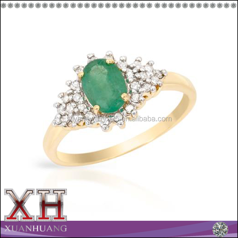 Alibaba Wholeslae Factory Emerald Gemstone Silver Women 925 Ring