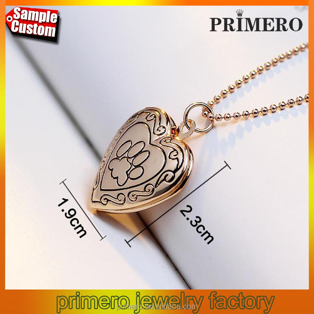 Gold Animal Dog Paw Print Photo Frames Can Open Locket Necklaces Heart Pendants
