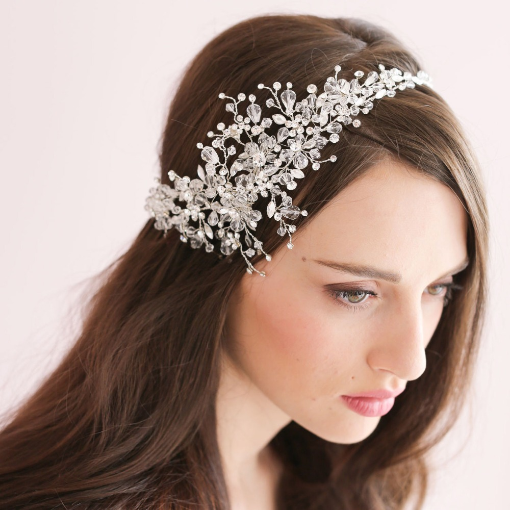 100% Handmade European Fashion Crystal Wedding Head Band Bridal Hair Band Hair Accessories Headpieces