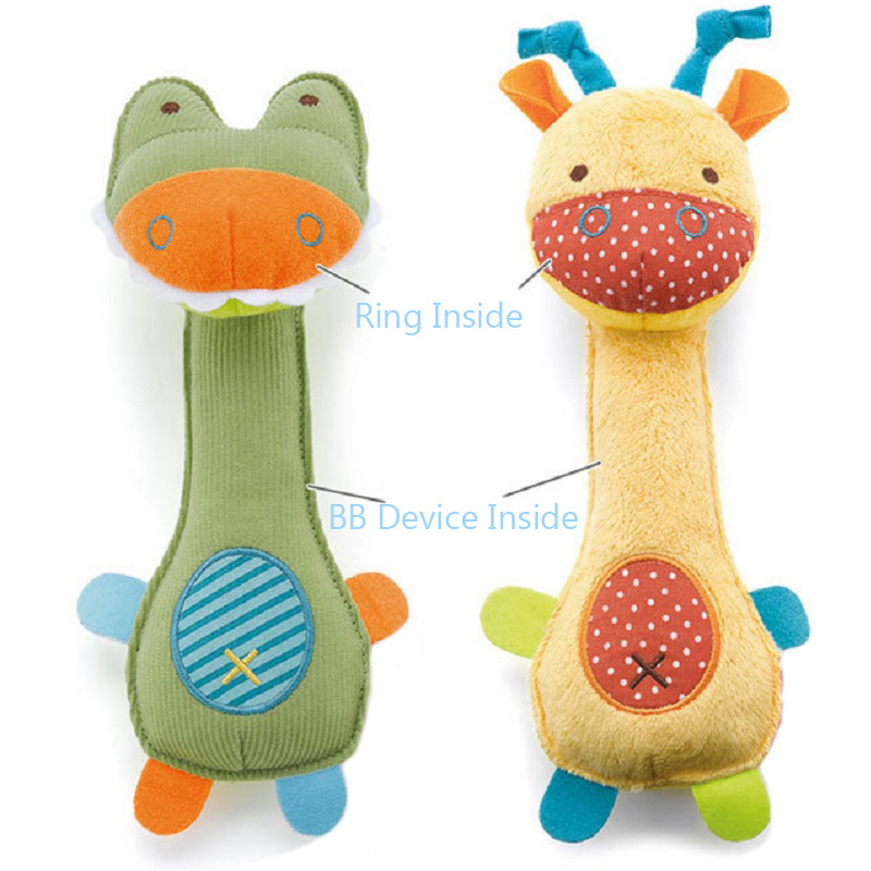 1pc Baby Toy Soft Cartoon Animal Rattle 21cm Squeaker BB Sounder Rattle Early Educational Toy