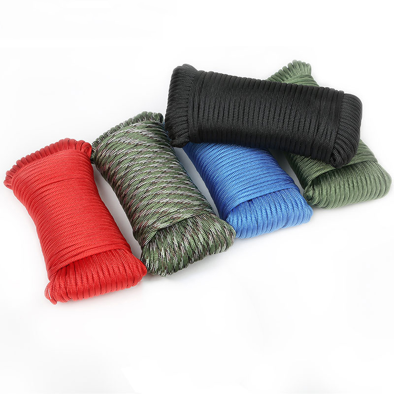 Green Color Mil Spec Type III-100ft 7 Strand 5/32 (4mm) Diameter 550lb Paracord Parachute Cord Lanyard, Black;blue;red;camo;army green etc