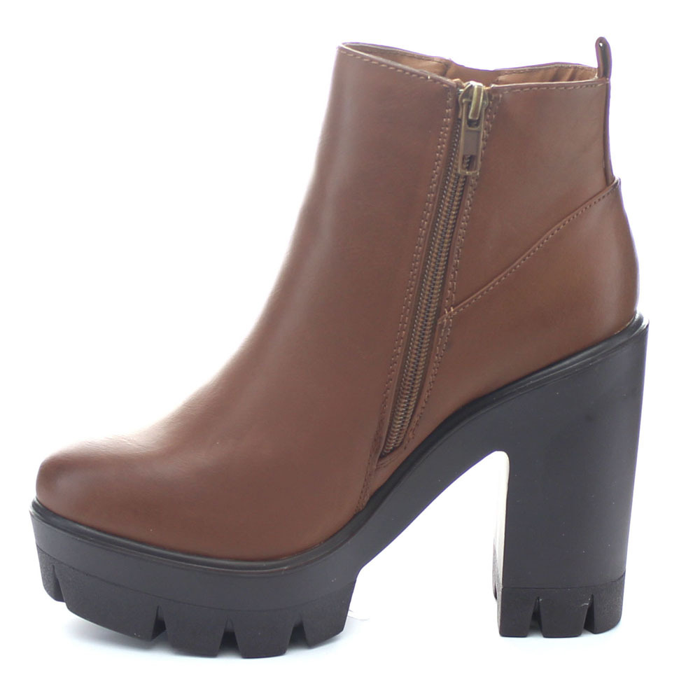 4d460f999e3 Get Quotations · Women s Side Zipper Platform Lug Sole Ankle Booties Zip  Platform Chunky Heels Platform Cleated Sole Zip