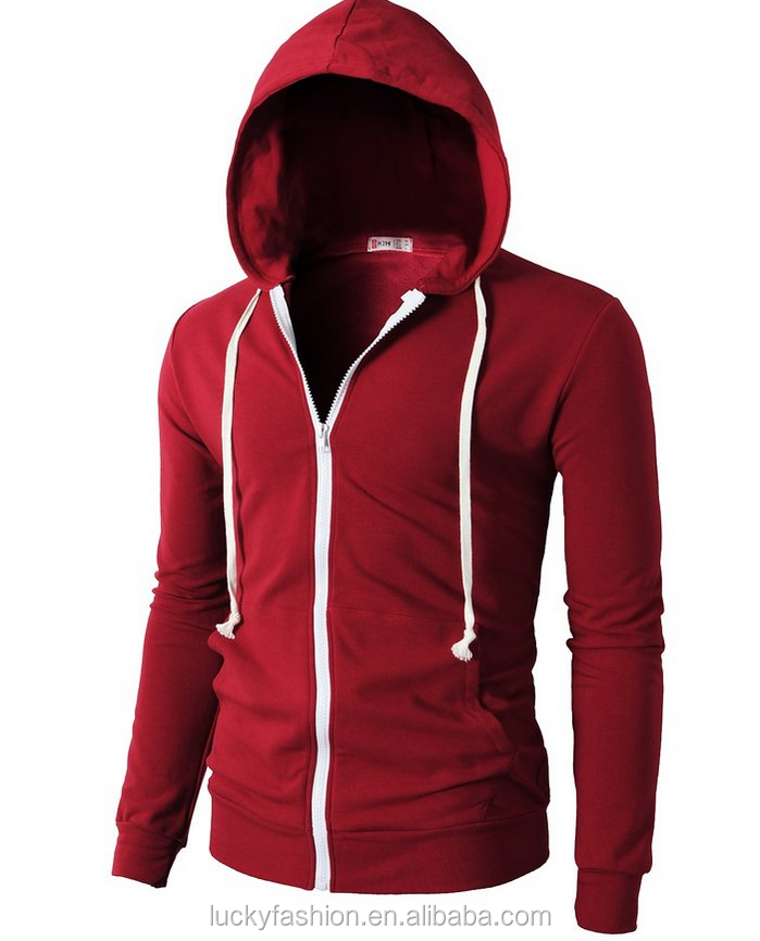 2016 BAIYIMO Mens Fashion Lightweight Zip-up Hoodie with Pocket Of Various Colors