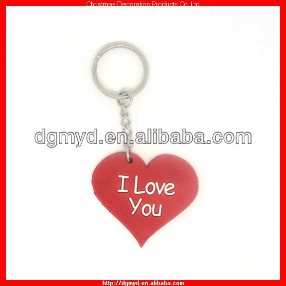 Simple Heart shape I LOVE YOU silicone key chian for free promotion (MYD-CH2208)