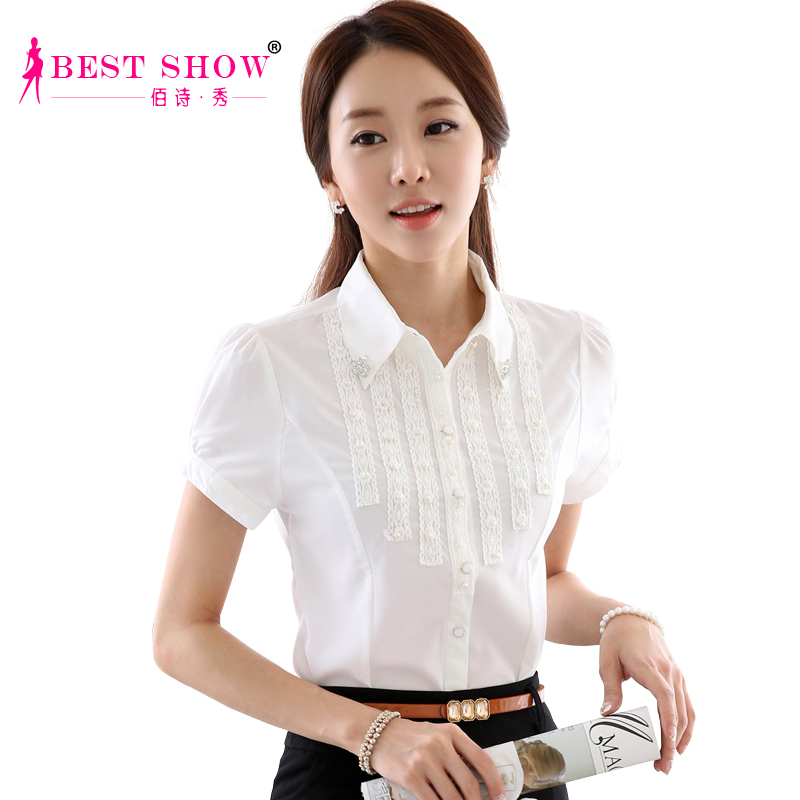 61d5f890 Buy Summer Style Women Work Wear Shirt New Arrivals 2015 Fashion White  Short Sleeve Chiffon Lace Beading Ladies Office Shirts 2031 in Cheap Price  on ...