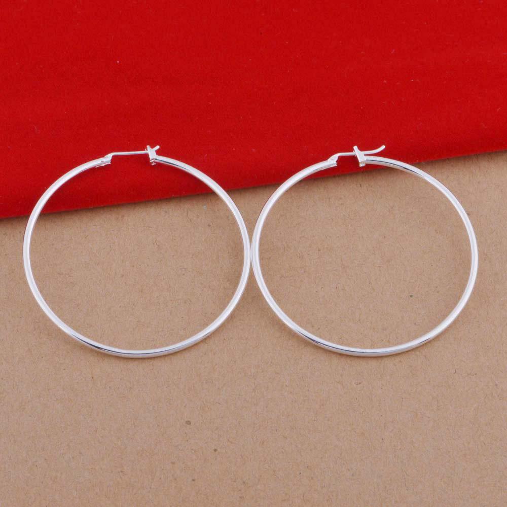 Plated 925 sterling silver Hoop earrings 5cm diameter smooth round earrings cheap silver earrings model фото