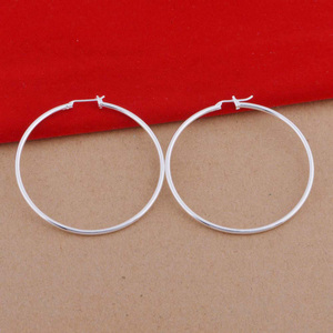 Plated 925 sterling silver Hoop earrings 5cm diameter smooth round earrings cheap silver earrings model