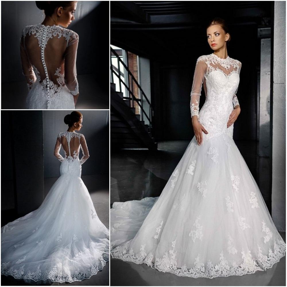 Sheer Lace Long Sleeve Satin Mermaid Wedding Dresses: 1 Sexy Romantic Sheer Long Sleeve Lace Mermaid Wedding
